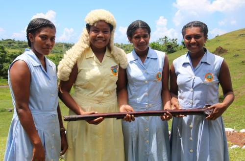 Dawasamu Secondary school students with the Parliament items on display. Picture: SUPPLIED