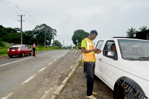 LTA officers during the traffic operation during the Easter weekend in Labasa. Picture: SERAFINA SILAITOGA