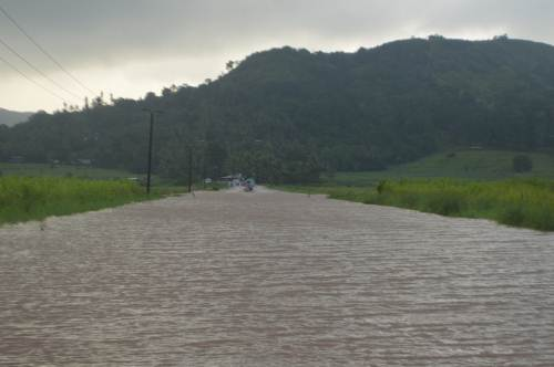 The flooded Soasoa Road in Labasa that forced more than 200 workers and students back home this morning. Picture: SERAFINA SILAITOGA