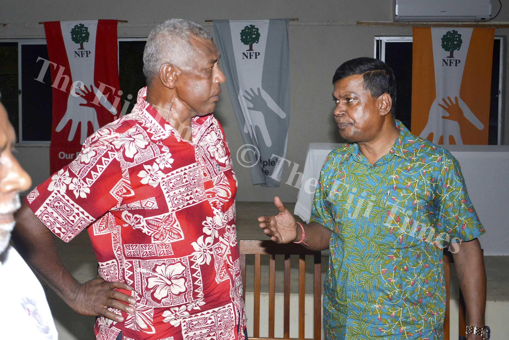 Pio Tikoduadua (left) with  NFP leader Biman Prasad after the meeting in Nadi. Picture: BALJEET SINGH
