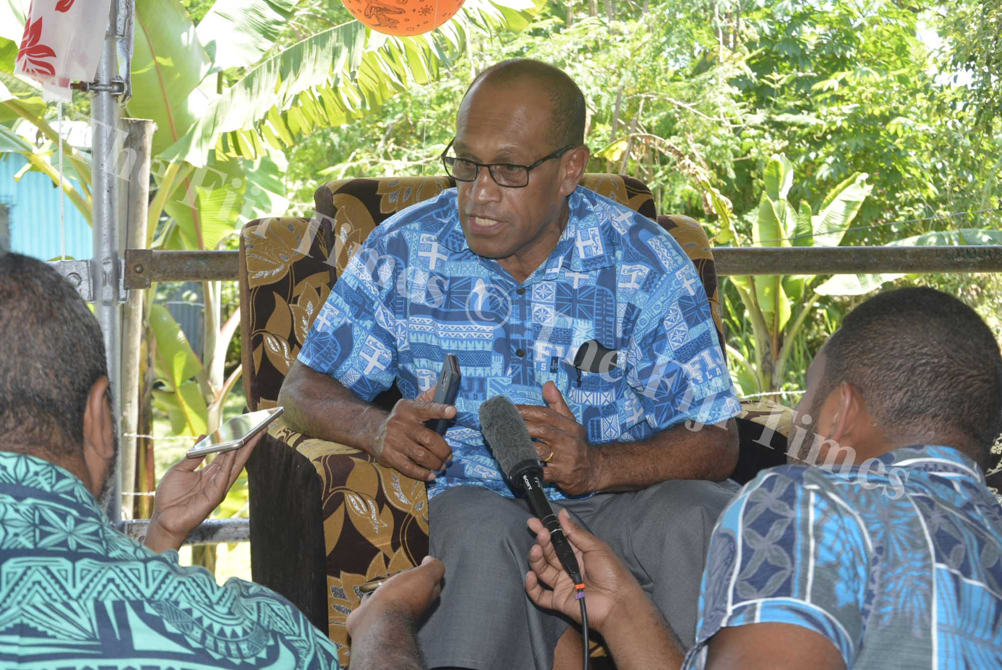 Minister for Employment Jone Usamate speaks to the members of the media in Nadi yesterday. Picture: REINAL CHAND