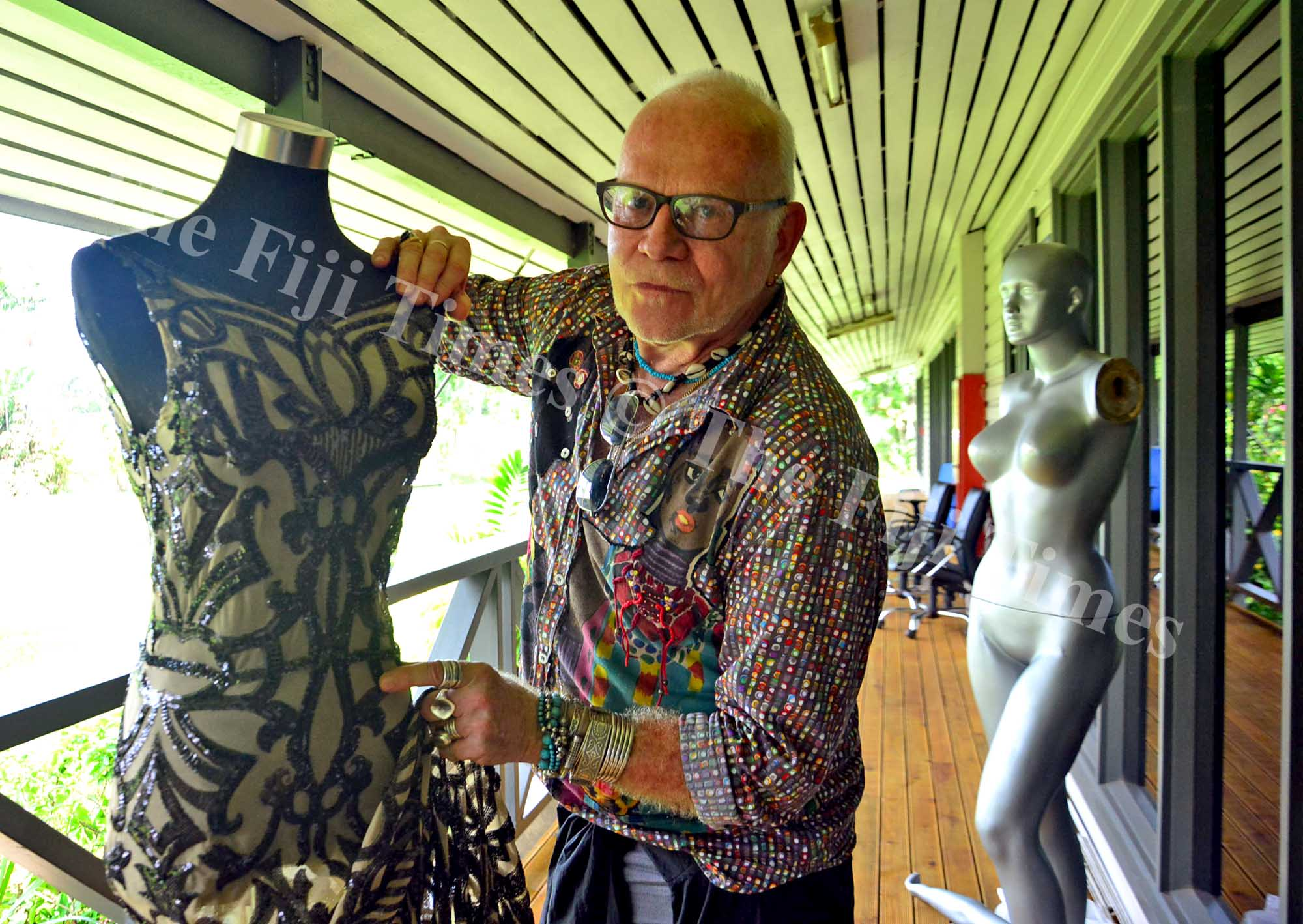 Designer Nicholas Huxley with one of his designs during the Business of Fashion workshop at the National Productivity and Training Centre at Nabua campus on Wednesday, January 18, 2018. Picture: JONACANI LALAKOBAU