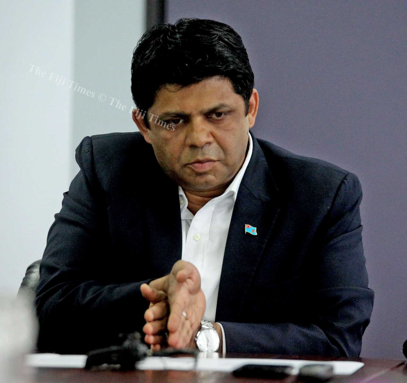 Minister for Education Aiyaz Sayed-Khaiyum clarify's an issue yesterday. Picture: JONA KONATACI