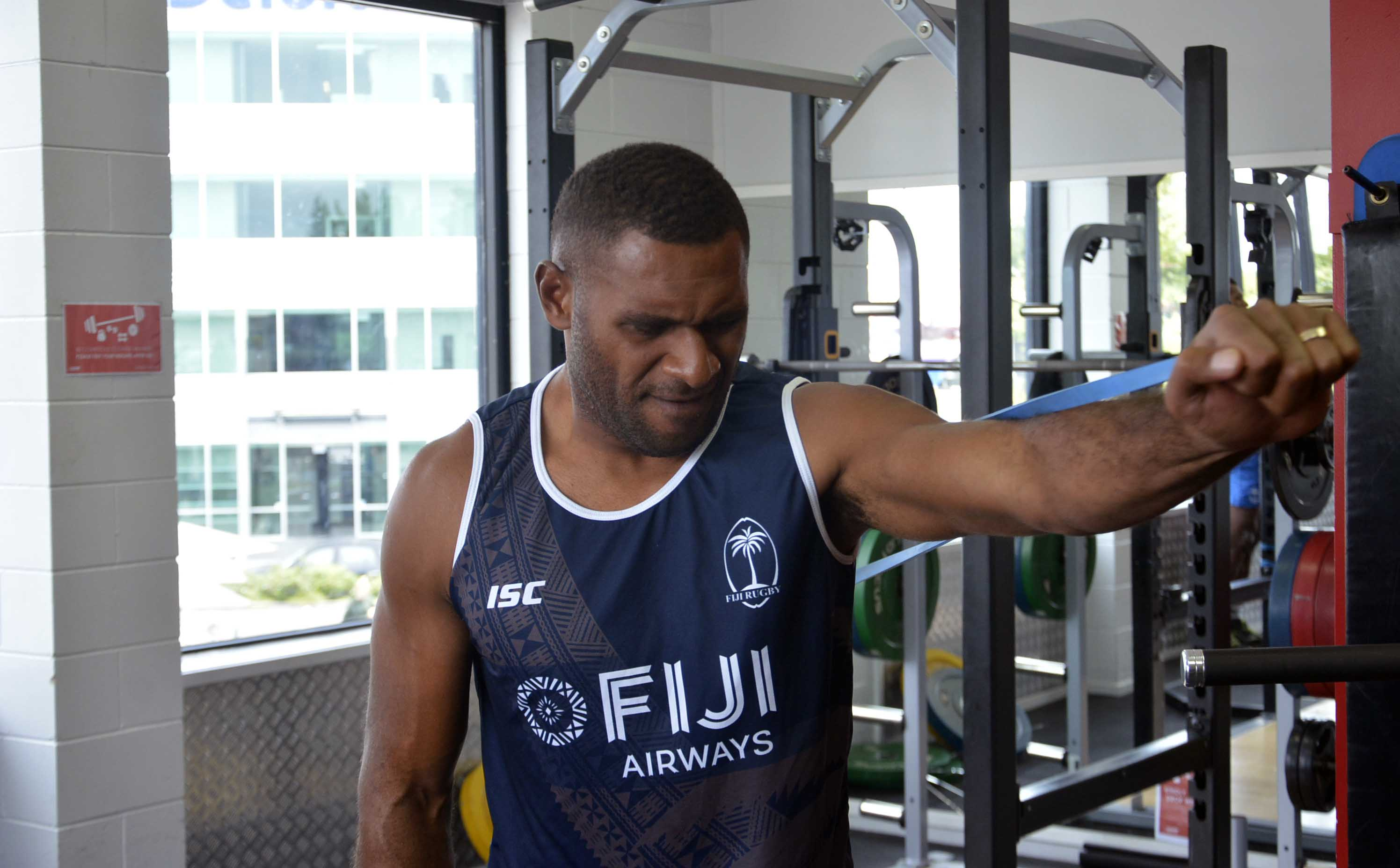 Jasa Veremalua during training at fastlane Fitness gym at Hamilton, New Zealand yesterday. Picture: BALJEET SINGH