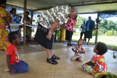 Children of Natokalau village in Kubulau chat to PM Voreqe Bainimarama during his tour of the village on Monday last week. Picture LUKE RAWALAI