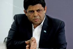 Minister for Education Aiyaz Sayed-Khaiyum clarify's an issue yesterday. Picture: JONA KONATACI
