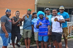 Fiji's radio announcer Koli Vuacati, fourth from right, with friends during the HSBC World Sevens Series Sydney 7s tournament at the Allianz Stadium on Saturday, January 27, 2018. Picture JONACANI LALAKOBAU