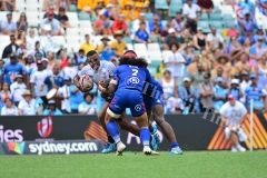 Amenoni Nasilasila is stopped by USA in the Cup quarter final match during HSBC World Sevens Series Sydney 7s tournament at the Allianz Stadium on Sunday, January 28, 2018. Picture-JONACANI LA (1)