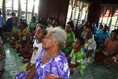 Naselesele villagers listen intently during a talanoa session at their village on Wednesday last week. Picture LUKE RAWALAI