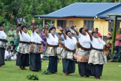 Natewa women perform a traditional meke following the opening of their new teachers quarters and classroom block. Picture LUKE RAWALAI