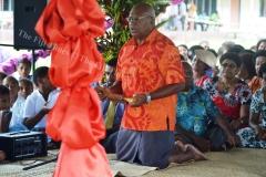SODELPA party leader Sitiveni Rabuka presents a tabua to PM Voreqe Bainimarama during his visit to Drekeniwai village last week. Picture LUKE RAWALAI