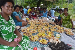 Vuadomo villagers in Savusavu prepare morning tea for PM Voreqe Bainimarama during his tour of the North last week. Picture LUKE RAWALAI