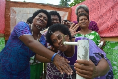 Women of Vuadomo in Savusavu enjoy their newly opened borehole after it was officially opened on Tuesday last week. Picture LUKE RAWALAI