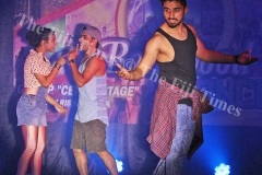 Bollywood Dancer, Performer and Choreographer Rishi Sharma (right) entertaining the crowd at Kshatriya Hall in Suva on Saturday night. Picture: JONA KONATACI