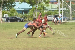 Yaqeta's Isimeli Morawa in action against Viwa in the Yasawa Rugby Union 10s Tournament in Lautoka. Picture: REINAL CHAND
