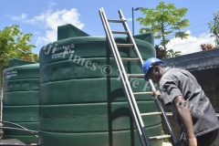 Tanoa Waterfront staff Ritnesh Kumar checks up the reserved water tanks at the Waterfront Hotel in Lautoka which will  be used to supply water to the hotel during the four day water shut down that begins on February 3. Picture: BALJEET SINGH