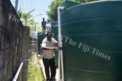 Tanoa Waterfront staffs Samboa Dewan (front) with Ritnesh Kumar check up the reserved water tanks at the Waterfront Hotel in Lautoka which will  be used to supply water to the hotel during the four day water shut down that begins on February 3. Picture: BALJEET SINGH
