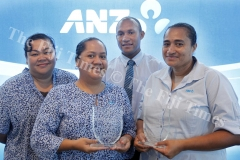 Patricia Pickering left, Ruth Fong, Taito Rauluni and Elesi Tadulala the members of the ANZ staff volunteers after recieving the award from the Reach 4 Your Future Foundation. Picture ATU RASEA