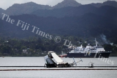 The sunken MV Southern Phoenix at Suva harbour yesterday. Picture: ELIKI NUKUTABU