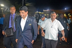 Attorney General Aiyaz Sayed-Khaiyum makes his way during the desecration of temples in Fiji public forum/talanoa session at the Shree Gopal Sadhu Hanumaan Gadhi Mandir in Nakasi on Tuesday, January 30, 2018. Picture: JONACANI LALAKOBAU
