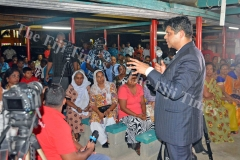 Attorney General Aiyaz Sayed-Khaiyum speaks to residents of Nakasi and near-by areas during the desecration of temples in Fiji public forum/talanoa session at the Shree Gopal Sadhu Hanumaan Gadhi Mandir in Nakasi on Tuesday, January 30, 2018. Picture: JONACANI LALAKOBAU