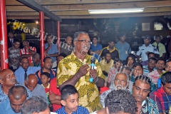Mansa Ram raises a question to the Attorney General Aiyaz Sayed-Khaiyum during the desecration of temples in Fiji public forum/talanoa session at the Shree Gopal Sadhu Hanumaan Gadhi Mandir in Nakasi on Tuesday, January 30, 2018. Picture: JONACANI LALAKOBAU