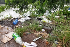 Rubbish found lying carelessly near the Labasa food parcel market. Picture: LUISA QIOLEVU.