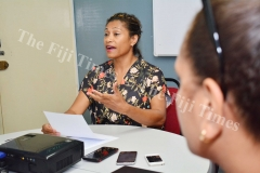 FORMER People's Democratic Party (PDP) leader Lynda Tabuya addressing the media during the press conference yesterday. Picture: JOVESA NAISUA
