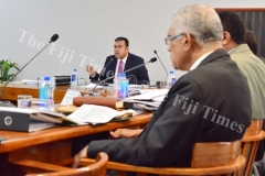 Public Accounts Committee chairman Ashneel Sudhakar asking a question to the Ministry of Local Government delegation during their meeting yesterday. Picture: JOVESA NAISUA