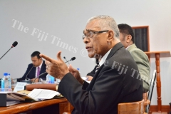 Ratu Naiqama Lalabalavu of the Public Accounts Committee asking a question to the Ministry of Local Government delegation during their meeting yesterday. Picture: JOVESA NAISUA