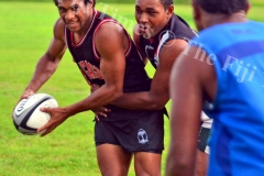 Simi Kuruvoli tries to offload during the Suva Rugby training at Buckhurst Grounds in Laucala Bay, Suva on Tuesday, January 30, 2018. Picture: JONACANI LALAKOBAU