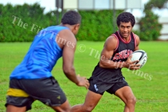 Simi Kuruvoli on attack during the Suva Rugby training at Buckhurst Grounds in Laucala Bay, Suva on Tuesday, January 30, 2018. Picture: JONACANI LALAKOBAU