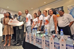 Executive MHCC Shanti Lourdenadin (2nd left),Assistant Minister for Health Alex O'Connor with the executives,athletes and sponsors during the Suva Marathon launch at Holiday Inn yesterday. Picture: RAMA