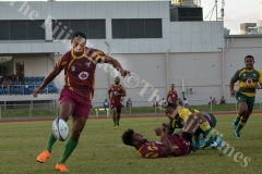 Rusiate Matai on attack for Lautoka against Tailevu during their clash at Churchill Park in Lautoka yesterday. Picture: BALJEET SINGH
