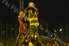 Tailevu's Jale Saukelea wins a lineout against Lautoka  during their clash at Churchill Park in Lautoka yesterday. Picture: BALJEET SINGH