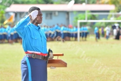 2018 Gospel High School Baton of Honor receipient Timoci Ratulevu salutes after recieving the award during their passing out parade. Picture: JOVESA NAISUA