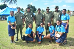 St John cadets with their training officers from the RFMF after the Gospel High School passing out parade yesterday. Picture: JOVESA NAISUA