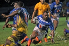 Yasawa halfback Vilimoni Marawa slips through a gap  during their Vodafone Vanua Cup semifinal against Northland at Ratu Cakobau Park yesterday. Picture: JONA KONATACI