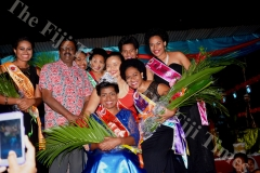 Miss Coral Coast Carnival winner Miss Jubaniwai Sudesh Transport Cema Bolawaqatabu with  fellow contestants after the crowning. Picture : BALJEET SINGH