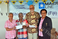 Shipping Services (Fiji) Limited directors, Wana Bingwor, left, and Seruwaia Hong-Tiy, right, with cancer survivors Sanjay Kumar, second left, and Derrick Wadman during the Fiji's Bushells Biggest Morning Tea campaign organised by the Fiji Cancer Society at the Shipping Services office in Lami on Friday, July 06, 2018. Picture: JONACANI LALAKOBAU