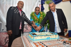 The chief guest Josefa Toganivalu who is the Deputy CEO of the iTaukei Affairs Board officiates the cake cutting ceremony after the launch of the Lau Provincial Council website at the Yatu Lau headquarters in Suva yesterday. Picture: JOVESA NAISUA