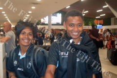Captain Ana Maria Roqica (left) with Viniana Riwai at Nadi International Airport. Picture: MACIU MALO
