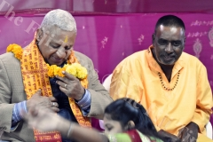 Chief guest Prime Minister Voreqe Bainimarama (left) with the pujari Ganesh Jai mani during the Kalsa Pooja at Maha Devi Temple at Vuci South Road, in Nausori on Saturday night. Picture: RAMA