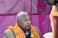 Chief guest Prime Minister Voreqe Bainimarama (left) with pujari Ganesh Jai Mani during the Kalsa Pooja at Maha Devi Temple at Vuci South Road, in Nausori on Saturday night. Picture: RAMA