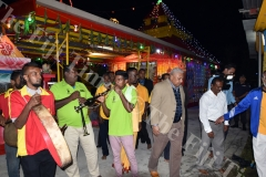 Chief guest Prime Minister Voreqe Bainimarama and Assistant Minister for Works and Infrastructure Vijay Nath during the Kalsa Pooja at Maha Devi Temple at Vuci South Road, in Nausori on Saturday night. Picture: RAMA