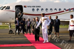Commander RFMF Brigadier Viliame Naupoto escorts Prime Minister Peter Paire O'Neil of the Independent State of Papua New Guinea during the guard of honor mounted by the soldiers of RFMF at Nausori Airport. Picture: RAMA